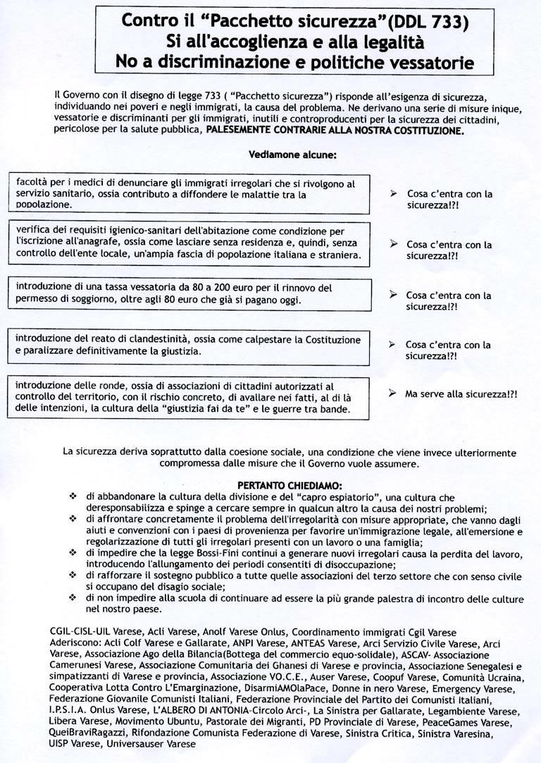 Varese 7 marzo 2009 NO alle norme del DDL SICUREZZA
